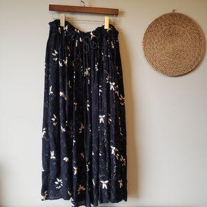 Vintage SMW Black Floral Long Skirt